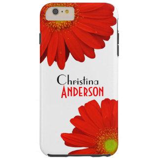 Flores anaranjadas lindas personalizadas del funda resistente iPhone 6 plus