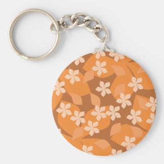 Flores anaranjadas. Modelo floral retro Llavero Redondo Tipo Pin
