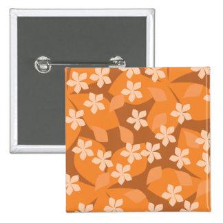 Flores anaranjadas. Modelo floral retro Pin Cuadrada 5 Cm
