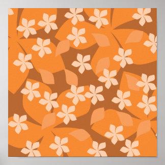 Flores anaranjadas. Modelo floral retro Póster