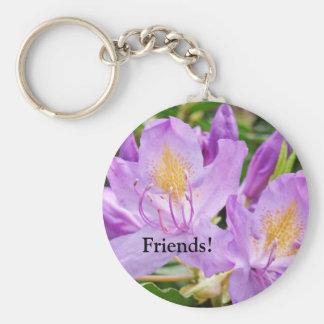 Flores anaranjadas púrpuras de Rhodies de los Llavero Redondo Tipo Pin