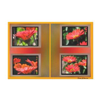 Flores anaranjadas rojas impresion en lona