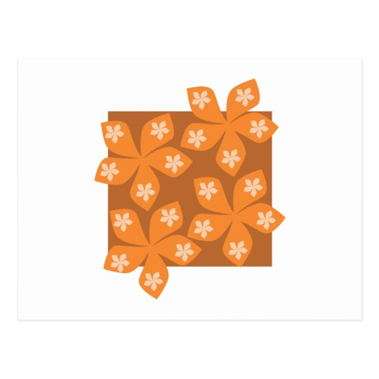 Flores anaranjadas tropicales en blanco tarjeta postal