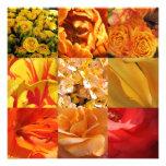 Flores anaranjadas y amarillas comunicado personalizado