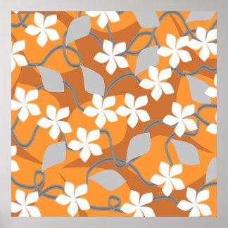 Flores anaranjadas y blancas. Modelo floral Póster