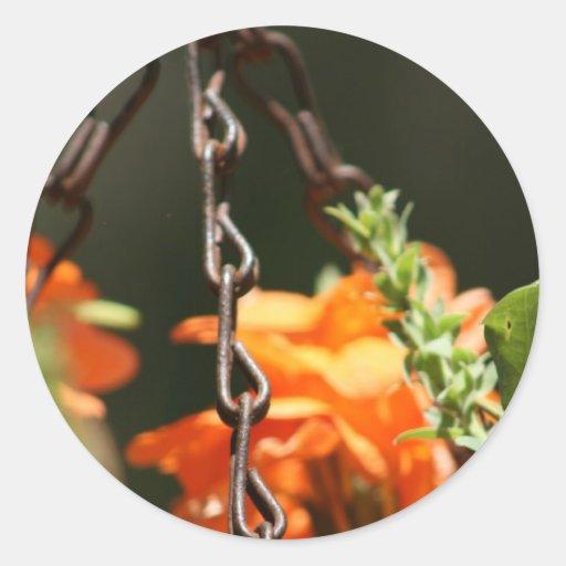 Flores anaranjadas y cierre aherrumbrado de la cad pegatinas