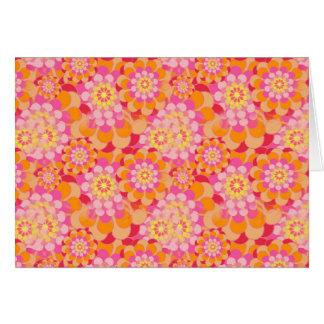 Flores anaranjadas y rosadas tarjeta de felicitación