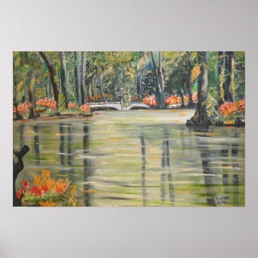 Flores anaranjados en cala del pantano con la lona póster