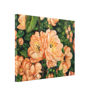 Flores anaranjados impresión en lona estirada