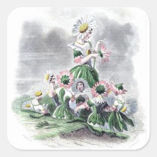 Flores animadas Grandville de la margarita de las Calcomanía Cuadrada