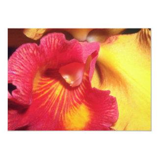 Flores ardientes rojas de la orquídea comunicado personalizado