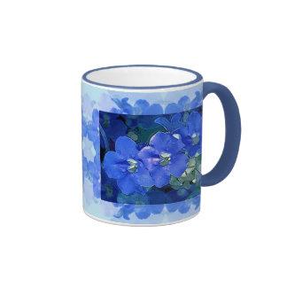 'Flores Azuis' (Blue Flowers) Ringer Coffee Mug