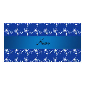 Flores azul marino conocidas personalizadas tarjeta fotográfica