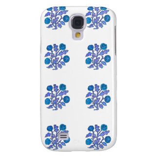 Flores azul marino del estilo del bordado del vint funda para samsung galaxy s4
