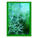 Flores azules alterados del melocotón tarjeta de felicitación