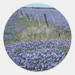 Flores azules amarillas de los capos pegatinas redondas