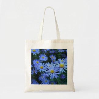 Flores azules bolsa tela barata