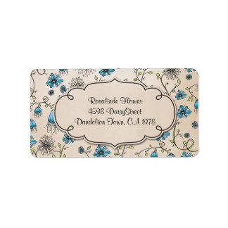flores azules caprichosas en beige etiquetas de dirección