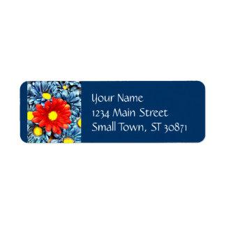 Flores azules coloridas de las margaritas de Gerbe Etiqueta De Remite