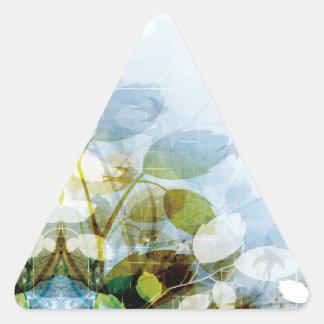 Flores azules con el triángulo minúsculo de los calcomanías trianguladas personalizadas