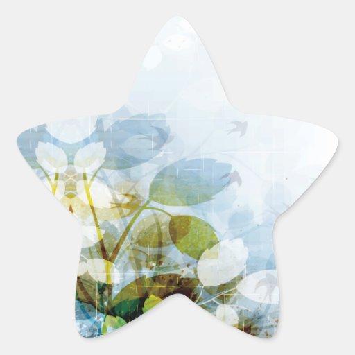 Flores azules con la estrella minúscula de los pegatina en forma de estrella