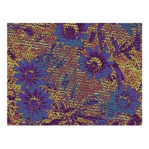 Flores azules contra modelo del camuflaje de la ho tarjetas postales
