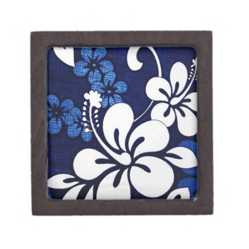 Flores azules de Hawaii Caja De Recuerdo De Calidad