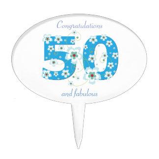 flores azules de la 50.a enhorabuena del cumpleaño decoraciones para tartas