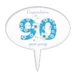 flores azules de la 90.a enhorabuena del cumpleaño decoración de tarta