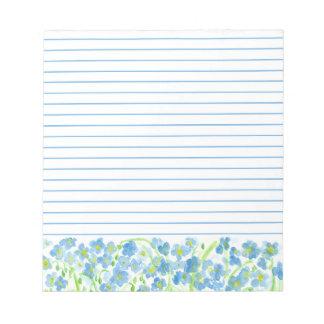 Flores azules de la acuarela del lino alineadas bloc