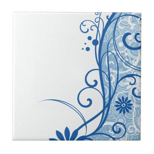 Flores azules de lujo azulejo cuadrado pequeño