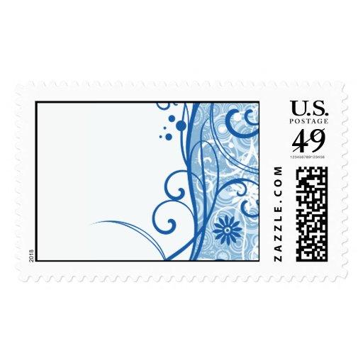 Flores azules de lujo sello
