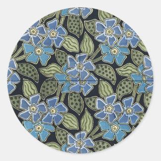 Flores azules de Nouveau del arte de Grasset - Pegatina Redonda