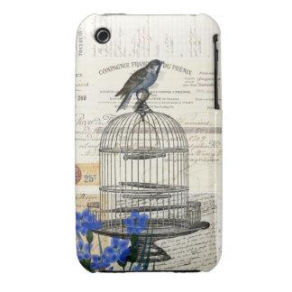 Flores azules del Birdcage del pájaro del vintage Funda Bareyly There Para iPhone 3 De Case-Mate