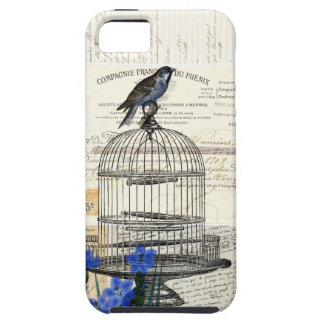 Flores azules del Birdcage del pájaro del vintage Funda Para iPhone SE/5/5s