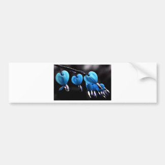 Flores azules del descenso del corazón pegatina para auto