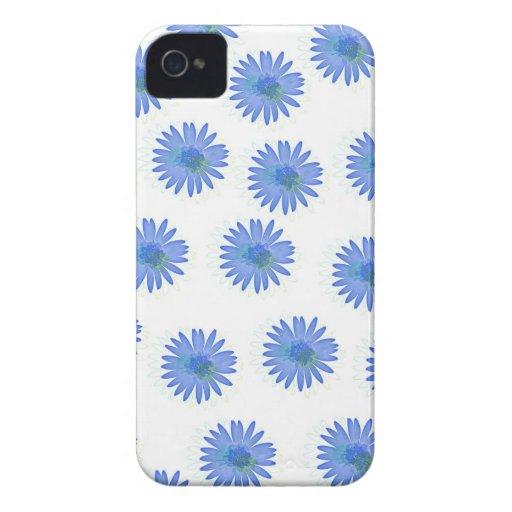 Flores azules del dibujo animado carcasa para iPhone 4