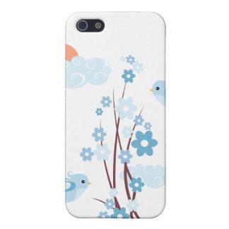 Flores azules del flor de los pájaros lindos iPhone 5 funda
