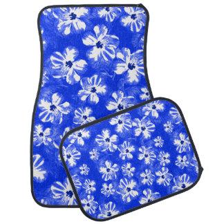 Flores azules del hibisco alfombrilla de coche