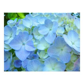 Flores azules del Hydrangea del papel del tema de  Membrete