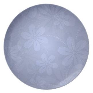 Flores azules del invierno plato para fiesta