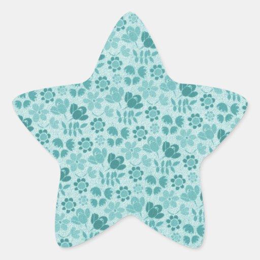 Flores azules del trullo mini pegatina en forma de estrella