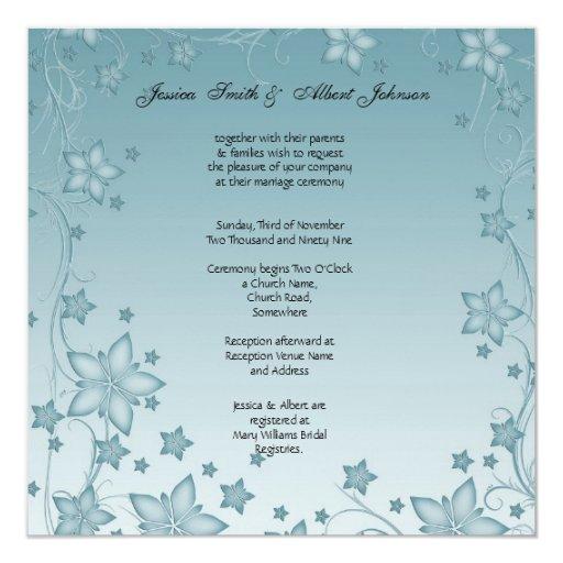 Flores azules del vintage que casan la invitación