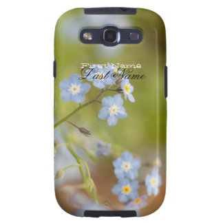 Flores azules dulces; Personalizable Galaxy S3 Fundas