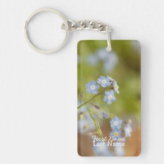 Flores azules dulces; Personalizable Llavero Rectangular Acrílico A Una Cara