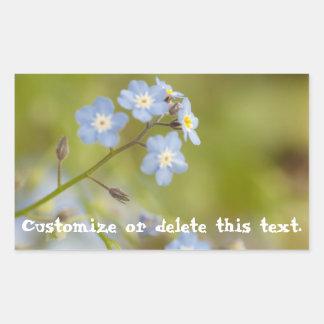 Flores azules dulces; Personalizable Pegatina Rectangular