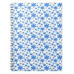 Flores azules en blanco libretas espirales