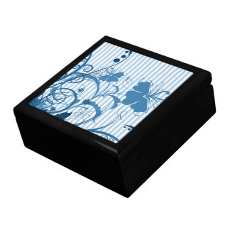 Flores azules en rayas cajas de recuerdo