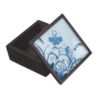 Flores azules en rayas cajas de recuerdo de calidad