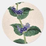 Flores azules en tallo con las hojas Ukiyo-e. Pegatina Redonda